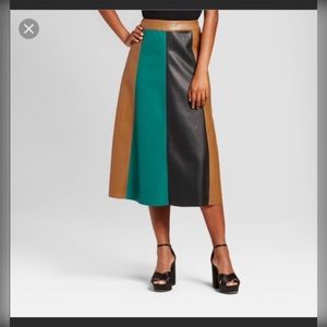 Who What Wear Faux Color black skirt